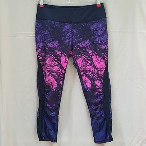 Pants - Purple and Pink capris workout legging with pocket